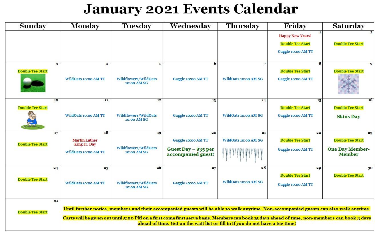 Monthly Events Calendar   Wildwood Green Golf Club; Where